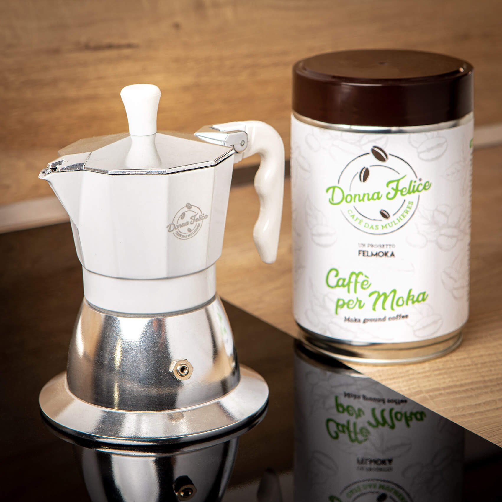 Moka a induzione Donna Felice + latta 250g Donna Felice